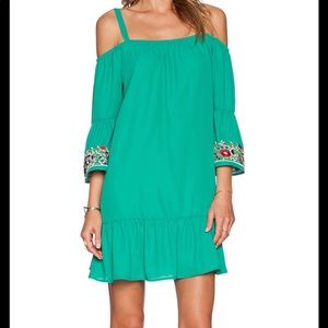 Green embroidery detail ruffle dress